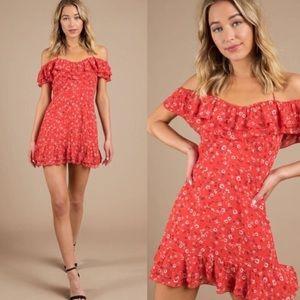 EUC Tobi Kendra Red Floral Print Dress Size XS
